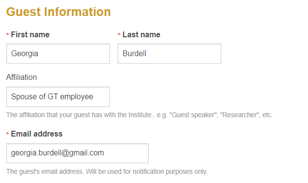 Example of the Guest Information form