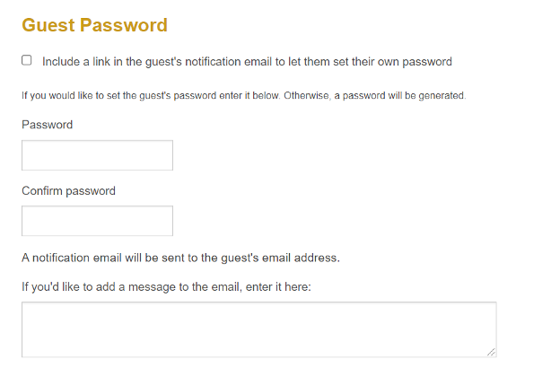 Example of Guest Password form.