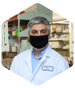 Dr. Chaouki T. Abdallah staying safe in the research lab with his face mask