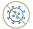 icon of crossed-out covid-19 molecule